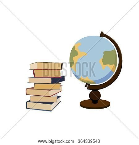 Pile Of Books And Vintage Globe. Georaphy Science. Learning And Studying Class. Vector Isolated Grap