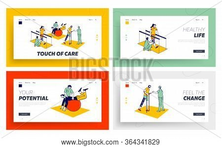 Disabled Physiotherapy, Rehabilitation Landing Page Template Set. Characters Get Adaptive Physical E