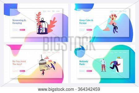 Characters Escape Home Isolation, Freedom Landing Page Template Set. People Leaving Cages And Run In