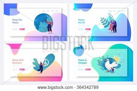 International Day Of Peace Landing Page Template Set. Tiny Characters Hugging, Throw Out Gun To Litt
