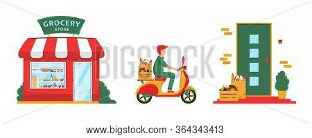 Grocery Delivery Concept Banner. Grocery Store Facade, Delivery Man On Scooter, Front Door, Box With