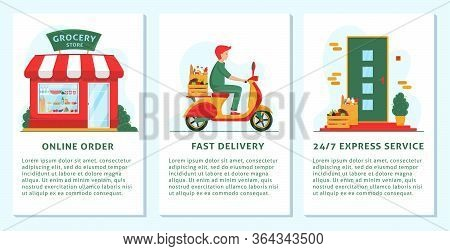Grocery Delivery Concept Banner, Mobile App Templates. Grocery Store, Delivery Man On Scooter, Front