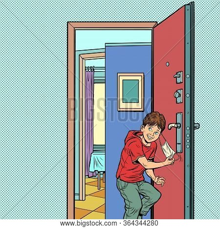 Final Epidemic And Quarantine. Boy Leaves Home And Takes Off Medical Mask. Pop Art Retro Vector Illu