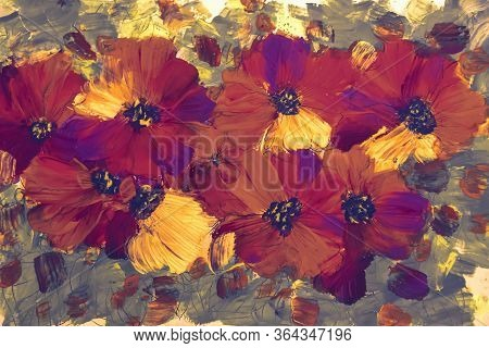 Paint Painting Flowers Texture, Painting Bright Flowers, Floral Still Life. Oil Painting. Acrylic Pa