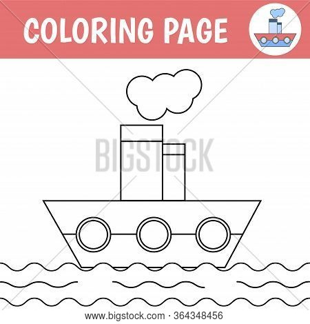 Children Coloring Page. Drawing Worksheets With A Steamboat. Vector Illustration.