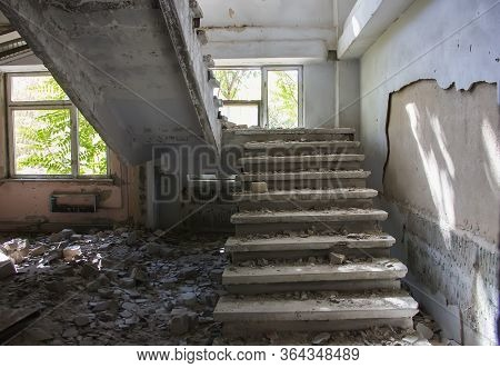 Old Ruined Haunted House, Abandoned House. The Lost City Of Pripyat. Modern Ruins. Chernobyl - Image
