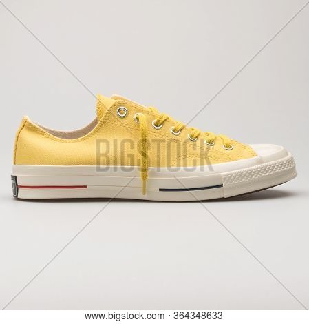 Vienna, Austria - February 19, 2018: Converse Chuck Taylor All Star 70 Ox Yellow And White Sneaker O