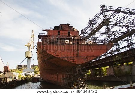 Rusty, Abandoned Ship Under Construction, Unfinished Ship At The Factory.