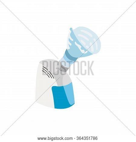 Medical Compressor Inhaler, Vector Illustration. Steam Inhaler For Oil Steam Inhalation Bronchit, As