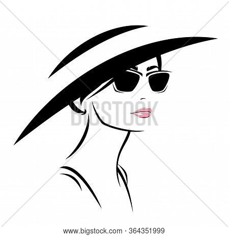 Beautiful Young Woman Wering Sunglasses And Wide Brimmed Hat Vector Fashion Portrait Design