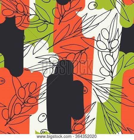 Seamless Vector Pattern Olives. Outline Olive Branches On Red, Green, Cream Background. Randomly Arr