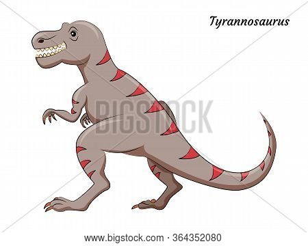 Cute Cartoon Tyrannosaurus Dino Character. Vector Isolated Dinosaur In Bright Colors. Illustration F