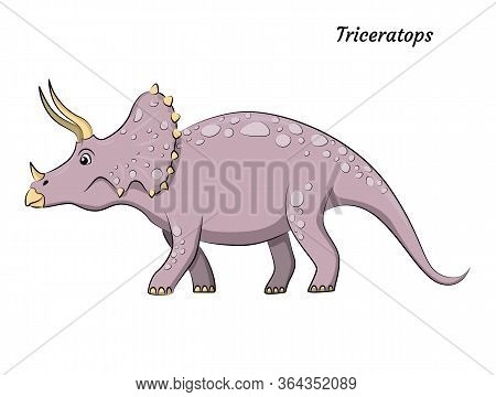 Cute Cartoon Triceratops Dino Character. Vector Isolated Dinosaur In Bright Colors. Illustration For