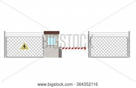 Metal Fence With A Sign Of High Voltage On It. Barrier And Checkpoint. Flat Vector Illustration