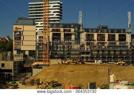 Stuttgart,germany - April 21,2020:mailaender Platz This Is A Big Construction Site In Front Of The M