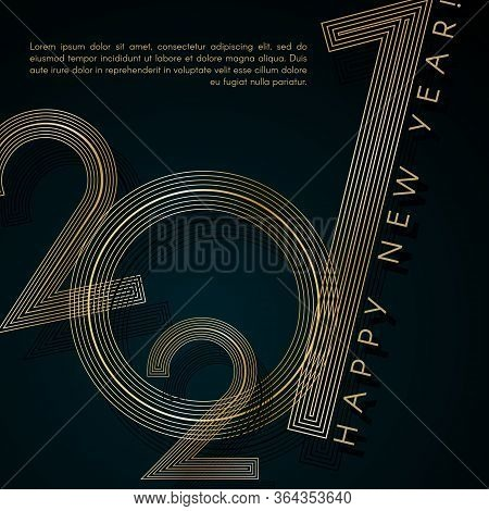 Gold Lines 2021 New Year On A Blue Background Creative Element For Design Luxury Card Invitation Par