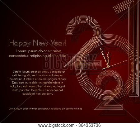 Gold Lines 2021 New Year On A Red Background Creative Element For Design Luxury Card Invitation Part