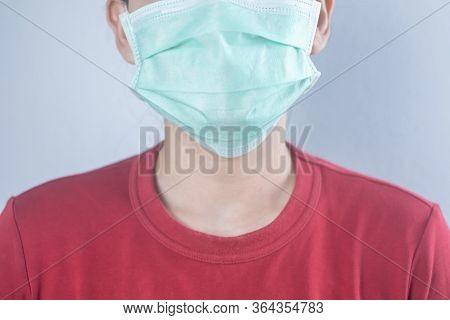 Closeup Woman Wear Hygiene Protective Mask For Protect Covid-19 Virus. Coronavirus Crisis. Face Of A