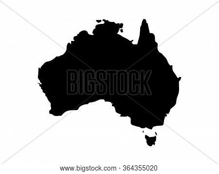 Australia Stylized Vector Map Isolated On White Background. Black Flat Card Template. Simplified Wor