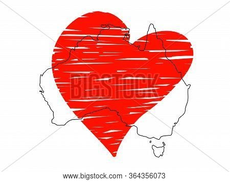Save Australia Vector Stock Illustration. Outline Continent Australia With A Red Sketch Heart Isolat