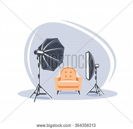 Photo Studio Scene Isolated On White Background