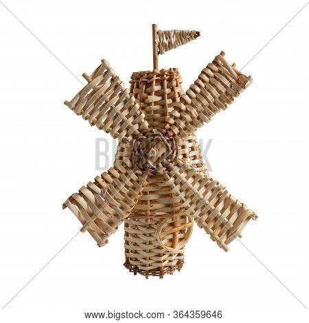 Wicker Windmill Isolated On White Background. Wickerwork