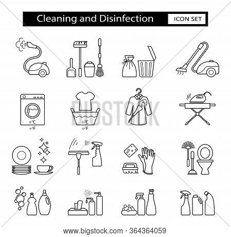 Cleaning And Disinfection. Icon Set For Infographic Or Website. Housekeeping And Cleaning Service. C