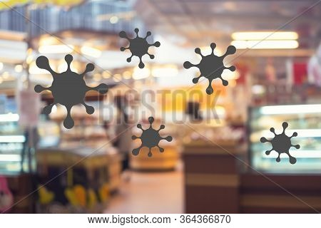 Shopping Mall And Coronavirus Infection Blurred Background