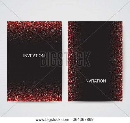 Card Backgrounds Set. Red Glitter Paper Confetti. Glistening Green Disco Lights. Glow Circular Frame