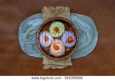 Rice Noodle With Herb Color (multicolor Khanom Chin). Thai-rice-flour Noodles Or Lightly Fermented R