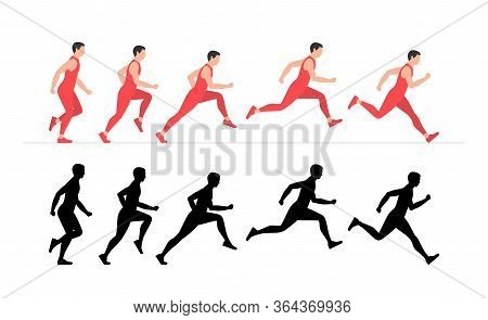 Man Run Cycle Animation Sprite Sheet. Flat Style. Isolated On White Background