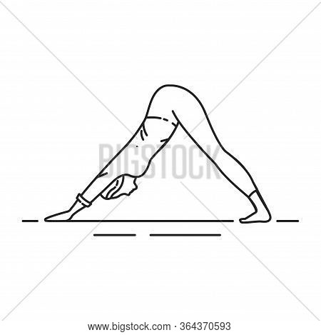 Downward-facing Dog Adho Mukha Shvanasana Black Line Icon. Pictogram For Web Page, Mobile App, Promo