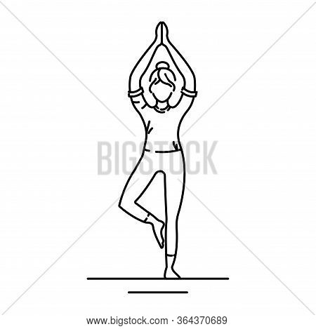 Tree Pose Vrikshasana Black Line Icon. Balancing Asana. Entire Sole Of The Foot Remains In Contact W