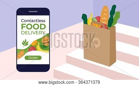 Contactless Food Delivery. Stay Home, Order Products By Courier Service. Bag With Foodstuffs On Step