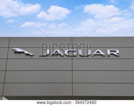 Filderstadt, Germany - October 03, 2019: Jaguar Brand Logo On Bright Blue Sky Background Located On