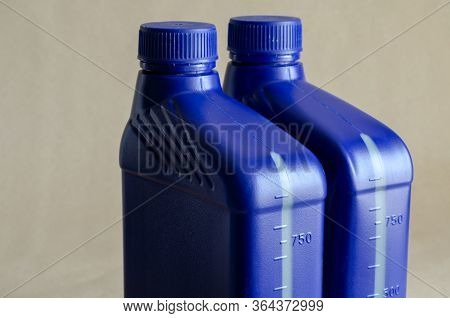 Two Blue Plastic Canister For Lubricants Without Label, Container For Chemicals.1 Liter Plastic Cont
