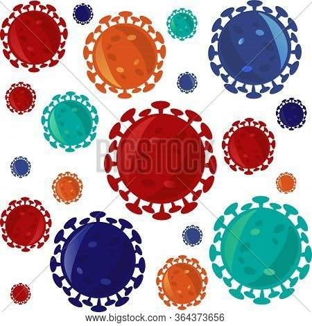 Pattern Of Isolated Red, Orange And Blue Microscopic Cell Of Coronavirus - Sars-cov-2 Bacteria