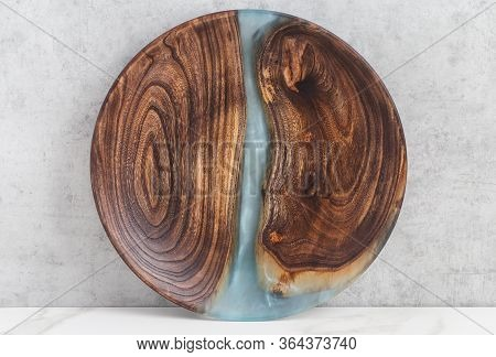 Epoxy Resin Wood Dish Blue Sea, Abstract Art Background Texture. Concept Of Home Decoration On Gray