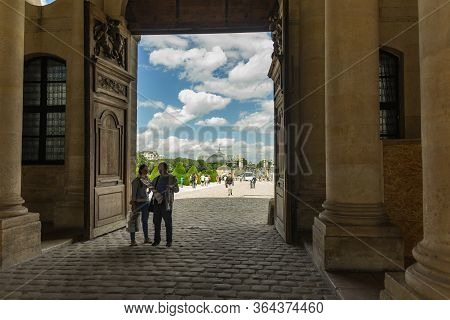 Paris, France - June 25, 2016: Main Entrance To Les Invalides From The Side Of Alexandre Iii Bridge.