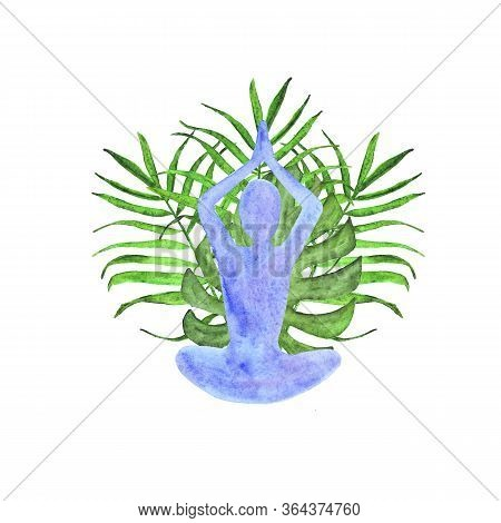 Silhouette Of A Man Practicing Yoga And Tropical Leaves Watercolor Composition Isolated On White Bac