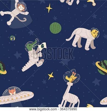 Cute Animal Astronauts Vector In Outer Space Seamless Pattern. Cheetah, Giraffe, Alien Fox In Ufo Ki