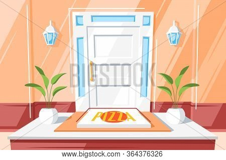 Pizza On The Doorstep Of The House. Cartoon Delivery Of Pizza At Home Vector Concept. Food Delivery