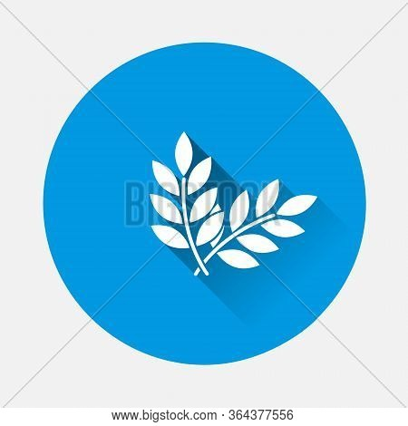 Vector Icon Ears Of Wheat, Cereal. Ear Of Oats. Rue Ears Icon On Blue Background. Flat Image With Lo
