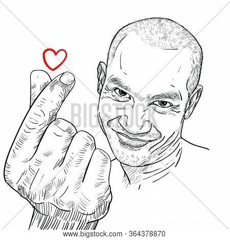 Drawing Funny Portrait Of Asian Guy Showing Mini Heart Of Hand Sign With Small Rea Heart. Vector Ill