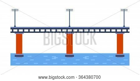 Bridge Vector Illustration. City Architecture Element With Cables, Freeway And Bridge-construction A