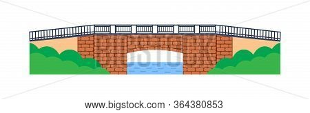 Stone Bridge Vector. City Architecture Element And Bridge-construction Across The River With Carriag