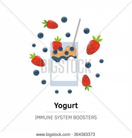Strawberry Yogurt Dessert. Immune System Boost. Breakfast With Cream Vector Isolated Food With Berry