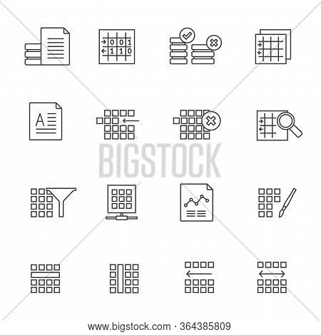 Line Database And Table Formatting Icons - Vector Icon Set