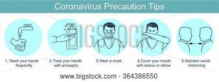 Poster Coronavirus Precaution Tips. Global Epidemic 2019-ncov.