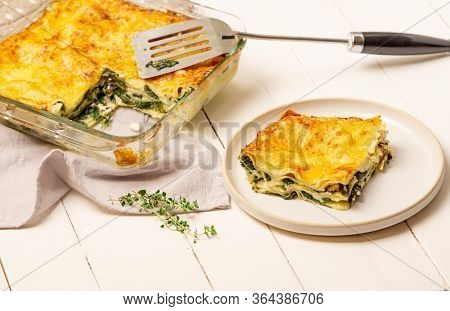 Spinach And Goat Cheese Lasagne. Vegetarian Food, Lunch, Dinner